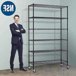 "Storage Metal Shelf Wire Shelving Unit with Wheels 82""x48""x1"