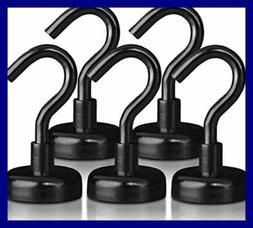 Strong Heavy Duty Magnetic Hooks 5 Pack 40Lb BLACK Magnet Ho