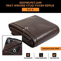 6' x 8' Super Heavy Duty 16 Mil Brown Poly Tarp Cover - Thic