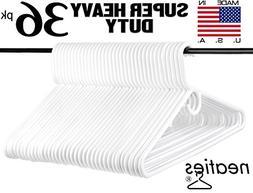 Neaties Super Heavy Duty White Plastic Hangers, USA Made Lon