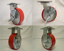 "6"" X 2"" Swivel Caster Heavy Duty Polyurethane Wheel with Top"