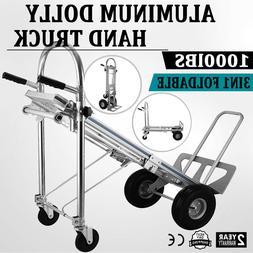 3 in 1 Aluminum Hand Truck Dolly Heavy Duty 1000lbs Capacity