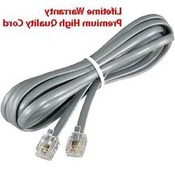 Premium Telephone Line Cord Heavy Duty Silver Satin 4 Conduc