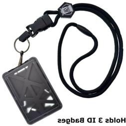 Specialist ID THREE Card Heavy Duty Plastic Badge Holder wit