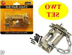 Two Heavy-Duty Combination Door Chain Safety Lock & Bolt Loc