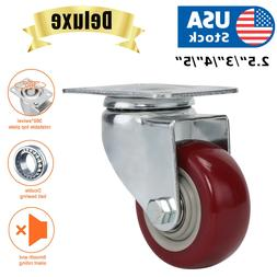 "Heavy Duty  3"" 4"" 5"" Inch Caster Wheels Swivel Plate Polyure"