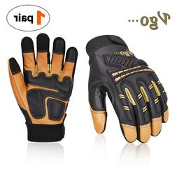 Vgo 1Pair Goatskin Heavy Duty Mechanic Gloves,Work Gloves,An