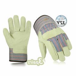 Vgo 3Pairs Heavy Duty Grain Leather Work Gloves Safety Cuff