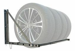 wall mount tire rack garage adjustable storage