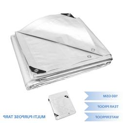 White Heavy Duty Multi-purpose Waterproof Poly Tarp Cover Te
