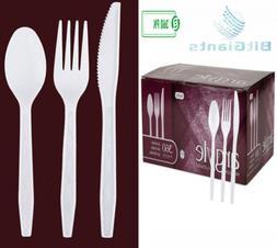 White Plastic Silverware   Heavy Duty & Solid Cutlery Dispos