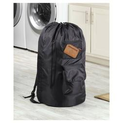 Whitmor Black Polyester DuraClean Laundry Backpack, New In