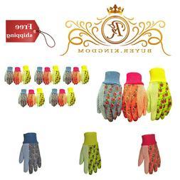 Womens Garden Gloves Soft Jersey Work Hand Protection Knit W