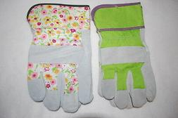 Womens Gardening Yard Gloves 2 PAIR LOT Canvas & Leather LIM