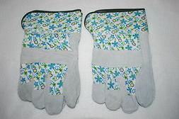 Womens Gardening Yard Gloves 2 PAIR LOT Canvas & Leather BLU