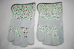 Womens Gardening Yard Gloves 2 PAIR LOT Canvas & Leather IVY
